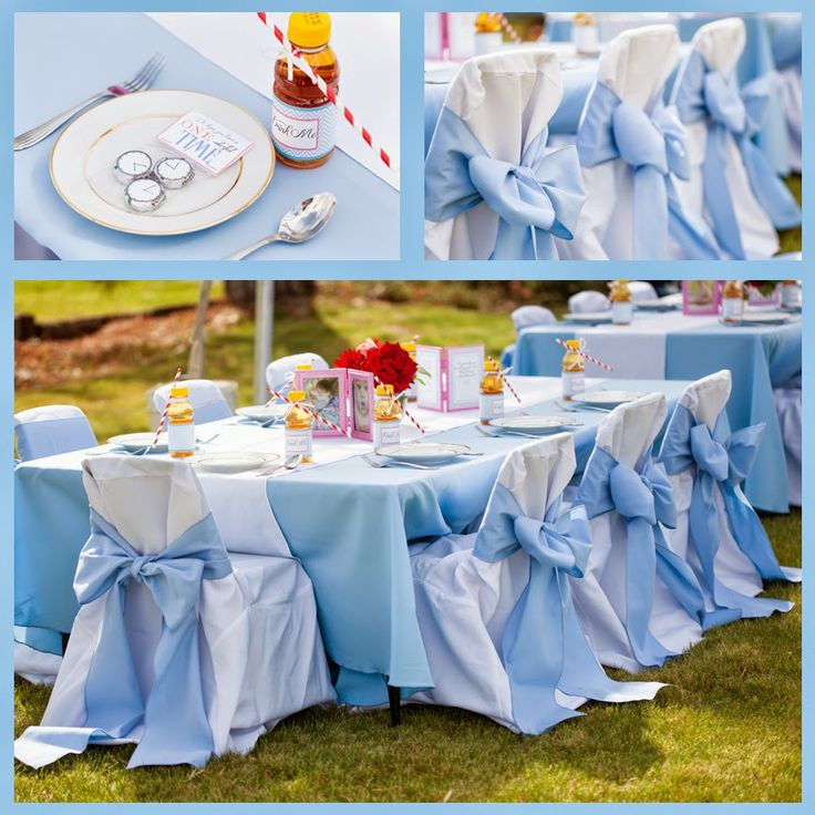 these chair covers almost look like dresses with big blue bows. So stinkin' cute for a little girls birthday party!  Beautiful DIY: Alice in Wonderland First Birthday Part Three