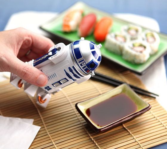 #R2-D2 Soy #Sauce #Dispenser – $17 / Measuring at 4 inches tall, this fun R2-D2 bottle can be filled to the brim with soy sauce or any other liquids. http://thegadgetflow.com/portfolio/r2-d2-soy-sauce-dispenser-17/