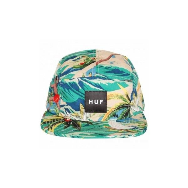 Huf Huf Hawaiian Volley 5 Panel Cap Tropical ($49) ❤ liked on Polyvore featuring accessories, hats, skate hats, huf, 5 panel cap, 5 panel hat and huf hats