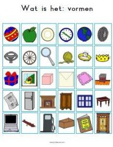 Een alternatieve kaart voor het spel 'Wie is het'. Onderwerp: vormen.