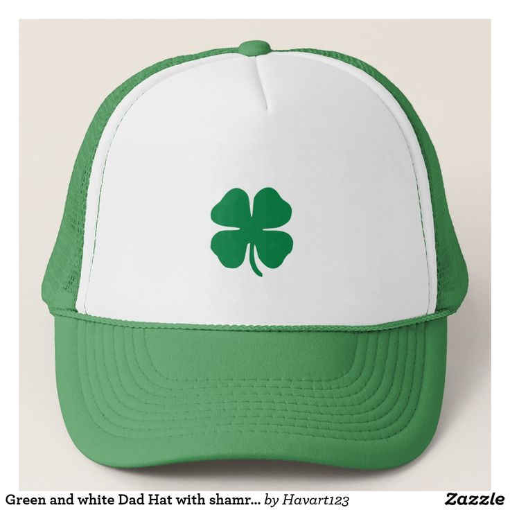 Green and white Dad Hat with shamrock