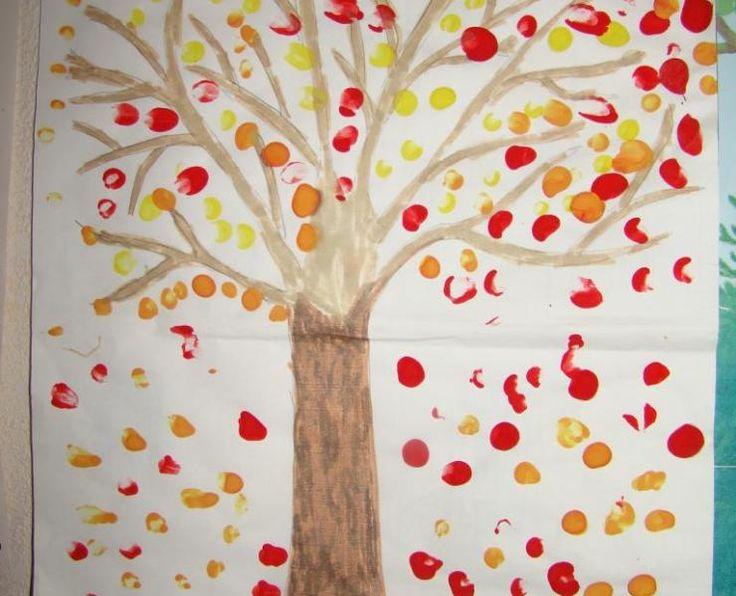 arbre d'automne (peinture au coton tige)