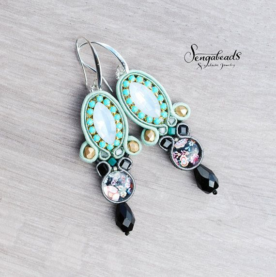 Teal soutache earrings with flower patterned glass cabochons. Sterling silver coated hooks. Soutache earring. Soutache jewelry. Gift for her
