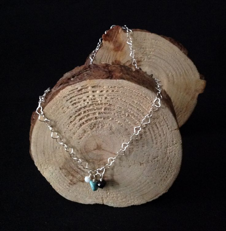 NECKLACE sterling silver hearts chain with beads de Crystallites en Etsy