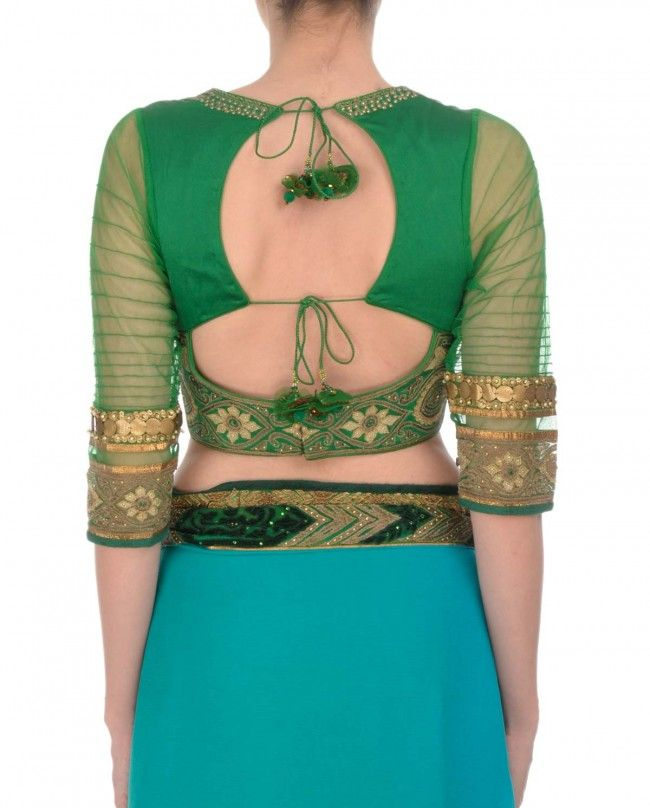 Emerald Applique Ombre Saree - Saris - Apparel