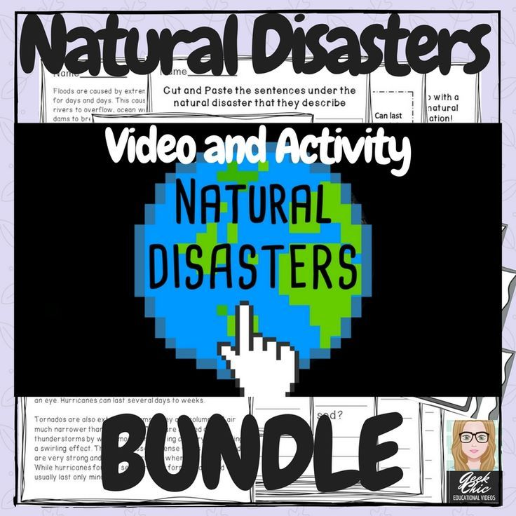 Teach your students about four of the most commonly occurring natural disasters with this Earth and Human Activity: Natural Disasters Video + Activities BUNDLE: hurricanes, tornados, floods, and earthquakes in a gamified, non threatening way with a pixela