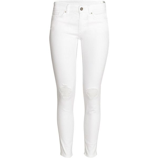 Super Skinny Ankle Jeans 249 ($25) ❤ liked on Polyvore featuring jeans, bottoms, pants, calça, jeans/pants, super skinny jeans, white ankle jeans, skinny leg jeans, white denim jeans and skinny jeans