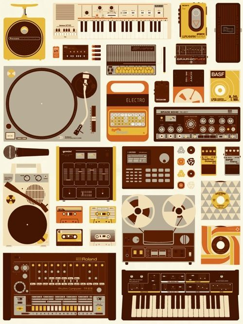 """Music producers, this one is for you. Burlesque Design's """"Tools of the Trade"""" 18″ x 24″ screenprint. Visit BurlesqueDesign.com."""
