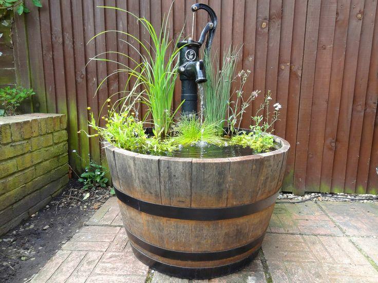 Oak Barrel Water Feature Water Garden Mini Pond