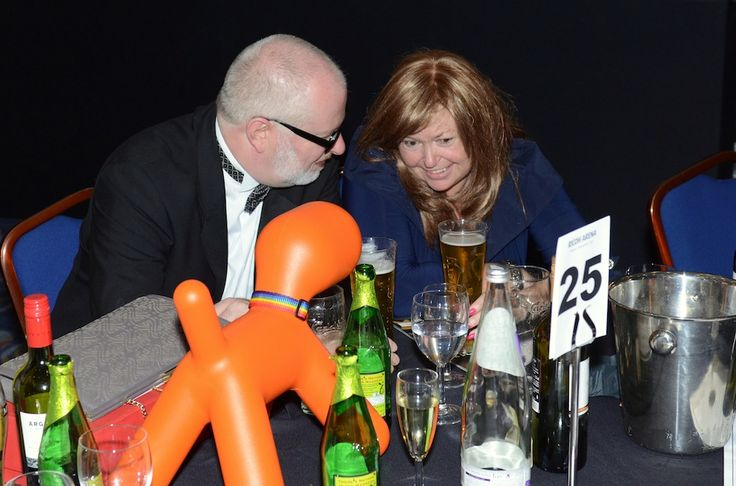 Nipper hanging out on the Ramsden's table and enjoying the after dinner chat at the LFS Conveyancing Awards at the Ricoh Arena on 25-Sep-2013.