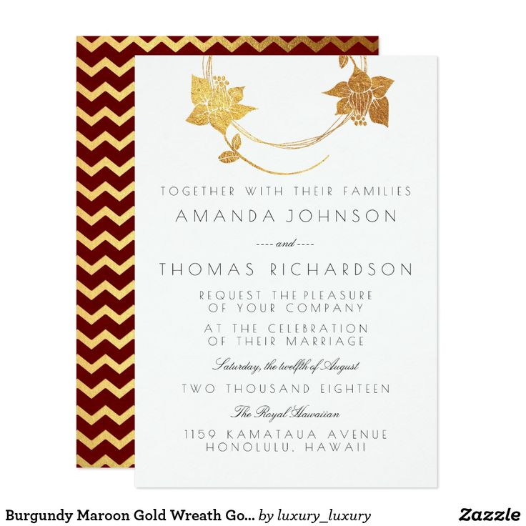 Burgundy Maroon Gold Wreath Gold Red Chevron Card