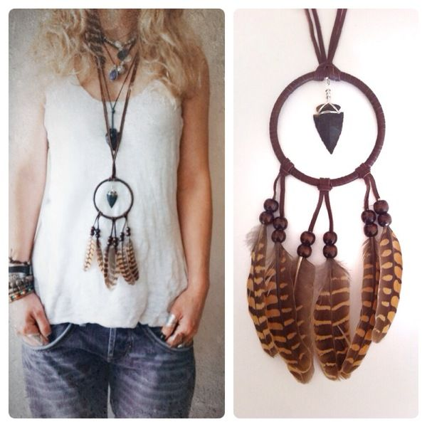 Collar Atrapasueños Marrón de Fringe and Feather Company por DaWanda.com