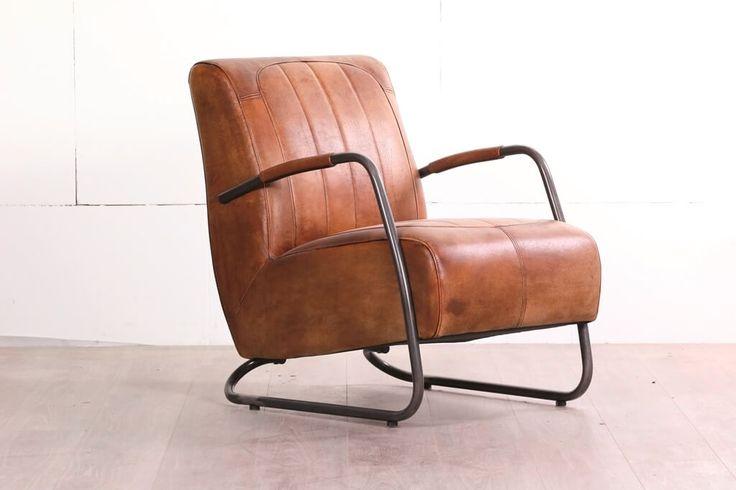 Industriele fauteuil ILC 17 in buffel leer.
