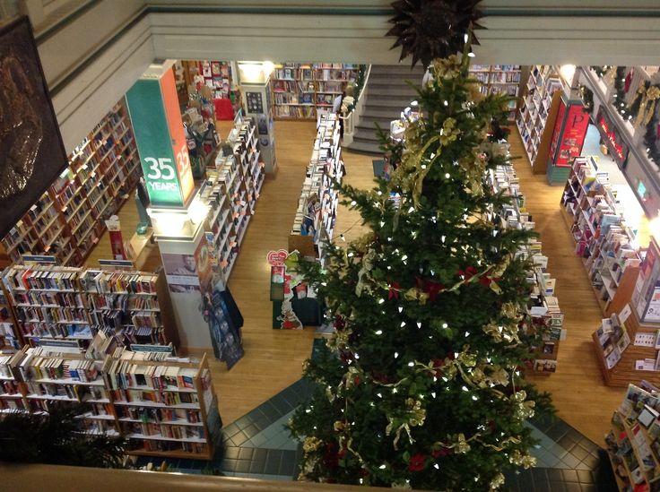 Christmas time at Auntie's Bookstore in Spokane, Washington.