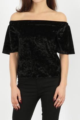 Crushed Velour Bardot Top - Black - Elegant Expressions UK