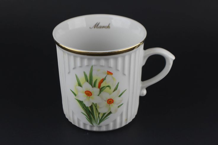 Vintage Original Bohemia Jonquil Flower Of The Month March Coffee Cup Mug by HaciendaVilla on Etsy