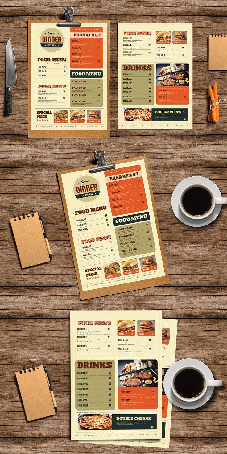 Retro Diner Food Menu Template AI, PSD