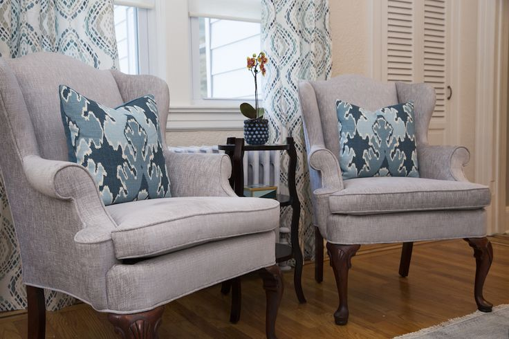 Living Room | Custom Upholstery on Wing Chairs | EVA'S DESIGN & DECORATING