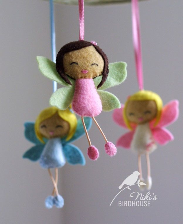 A cute little fairy to cheer you up. Can be made as a mobile, with ribbon hanging, with keyring or pin brooch. Let me know your preferences.This listing is for one fairy.Designed and hand sewn by myself. I hand-cut, hand-sewn each item with eco-friendly wool felt and lightly filled.The size of the dolls is about 3.12 inch / 8 cm, with a ribbon of 3.12 inch / 8 cm.