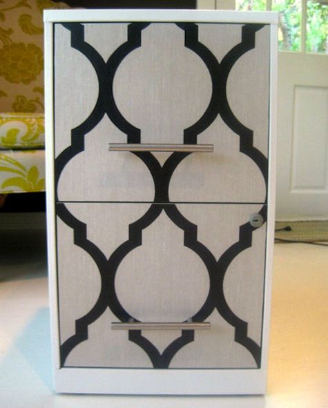 Mod Podge a filing cabinet using wallpaper- might work for the stained glass room cabinet