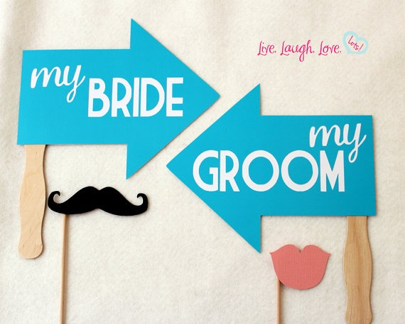Bride and Groom Paddle Arrow Signs FULLY by livelaughlovelots, $18.50: Ideas Photocal, Grooms Paddles, Alongsid Photobooth, Photo Props, Photobooth Accessories, Photo Booths, Bride, Paddles Arrows, Arrows Signs