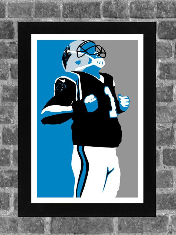 Carolina Panthers Cam Newton Portrait Sports Print by FanFourLife