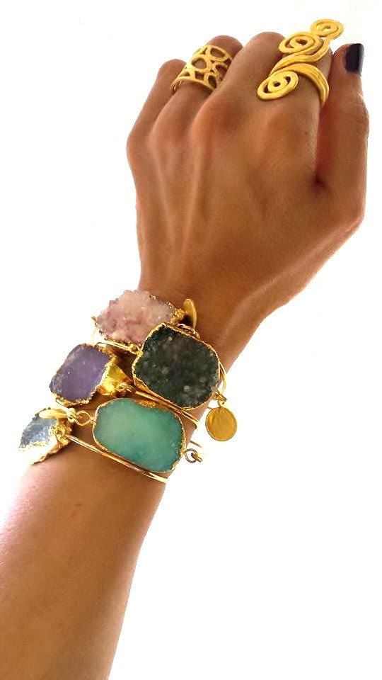 Gold plated bangle with Druzy stone druzy dipped by NKcollection, $52.00