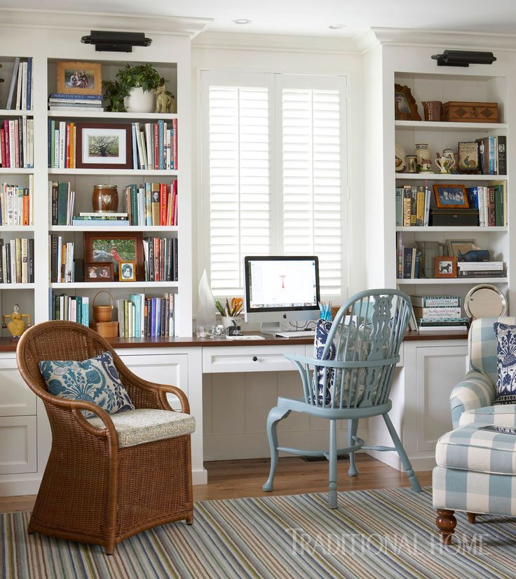 built in desk and bookcases  in home office | Spacious Family Home on Nantucket | Traditional Home