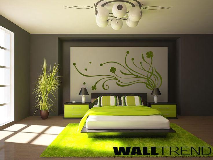 W 0199 Hullámzó virág faltetoválás - WALLtrend - faltetoválás, falmatrica, faldekoráció
