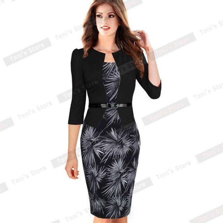 Nice-forever One-piece Faux Jacket Brief Elegant Patterns Work dress Office Bodycon Female 3/4 Or Full Sleeve Sheath Dress b237