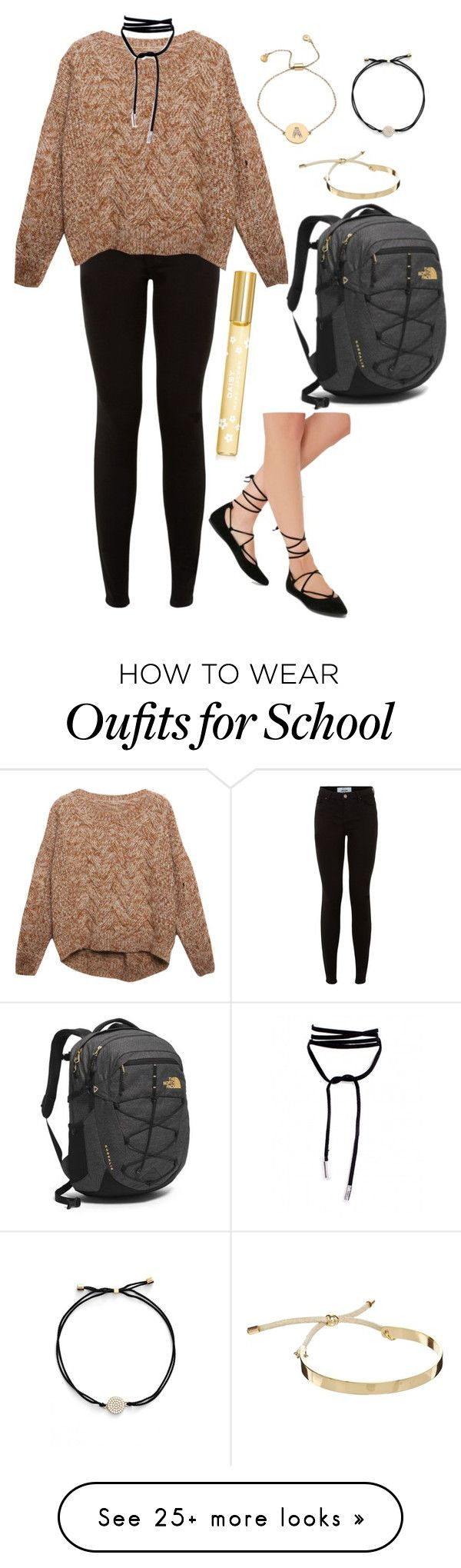 """back to school outfit #3"" by kyleemorrison on Polyvore featuring New Look, Relaxfeel, Steve Madden, The North Face, Marc Jacobs, Pieces, Nadri and Blu Bijoux"