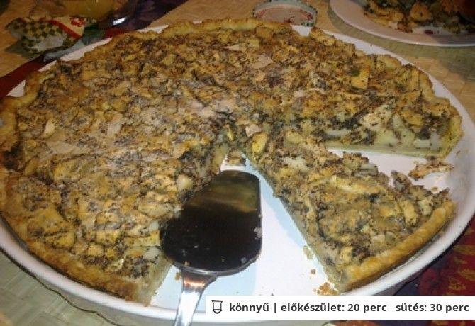 Almás-mákos francia pite A tésztához 20 dkg finomliszt 10 dkg vaj 2 db tojássárgája 2 ek joghurt 1 csipet só A töltelékhez 5 nagy db alma 3 dkg mák (darált) 1.5 ek cukor fahéj ízlés szerint (őrölt) 2 db tojásfehérje (habbá vert) 1 db tojás 1 csomag vaníliás cukor 3 dkg zsemlemorzsa (vagy darált keksz)