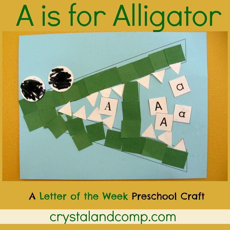 letter of the week: A is for alligator preschool craft #crystalandcomp #letteroftheweek