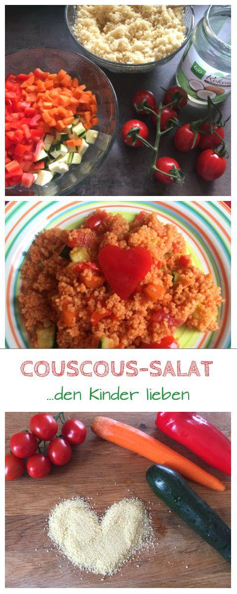 Rezept für einen schnellen Couscous-Salat mit Tomaten, Möhren, Paprika und Zucchini, den Kinder lieben. Dieses Kinderrezept machen wir gern als Beilage zum Grillen oder als Snack beim Picknick. Aber auch als Mittagessen für das Baby als Beikost eignet sich dieser Coucous-Salat sehr gut: http://www.breirezept.de/rezept_couscous_salat.html