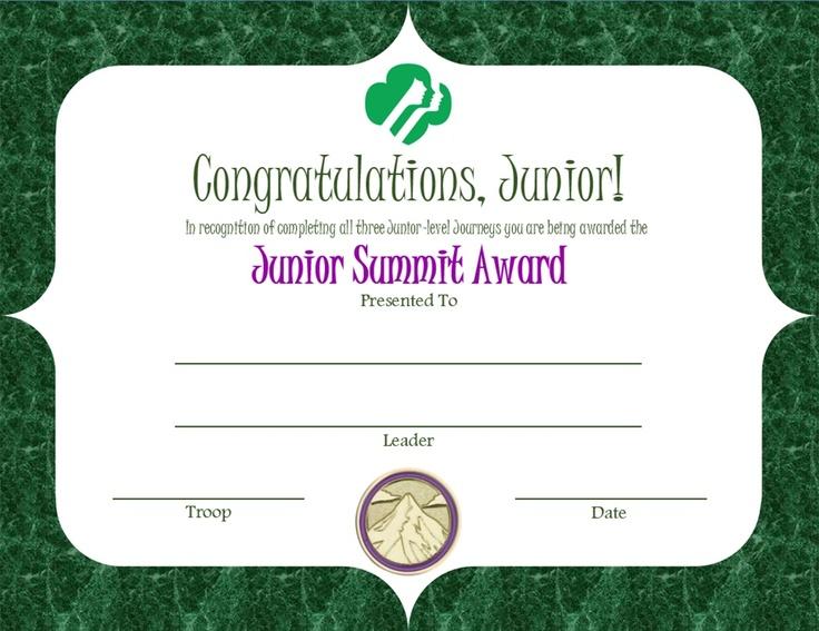 Junior Summit Award Certificate   Junior Girl Scouts ...