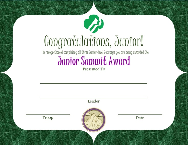 Junior summit award certificate girl scout printable for Girl scout award certificate templates