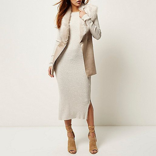 Cream faux suede belted gilet