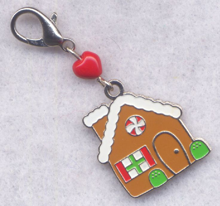 Gingerbread House Stitch Marker Clip Enameled Cookie Charm Single /SM199B from GloriaPatreSpinNKnit on Etsy Studio