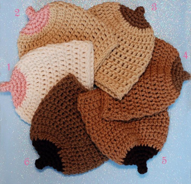 Boobie Beanie-Crochet Boobie Beanie-Breastfeeding Hat-Newborn to Adult-6 Styles-Made to Order. $10.00, via Etsy.