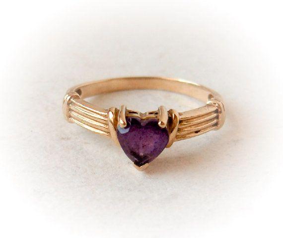 Vintage 10K & Amethyst Ring Heart Cut Amethyst by GemstoneCowboy, $150.00