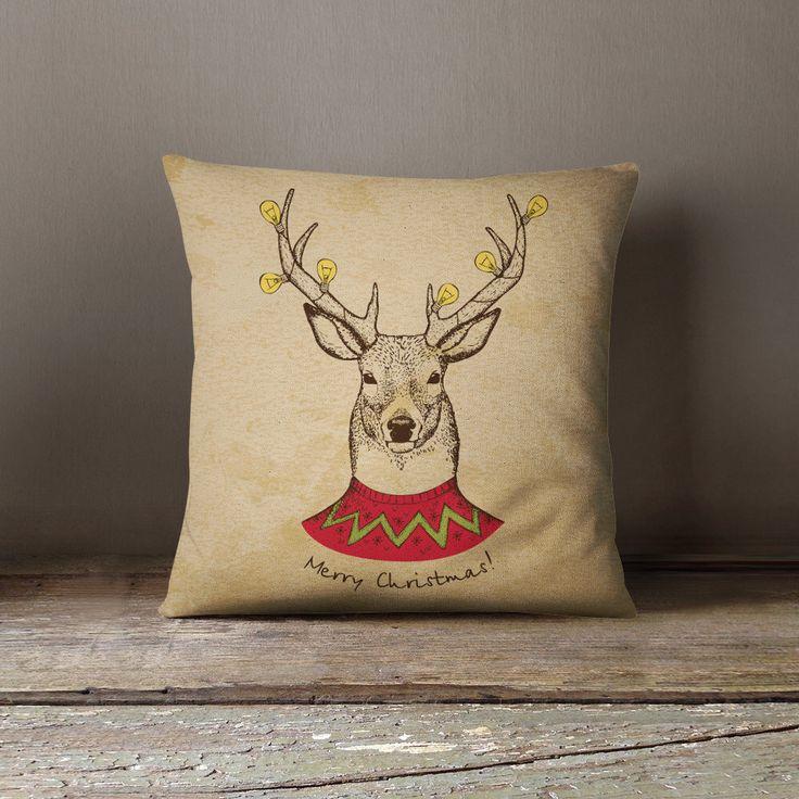Christmas Pillowcase | Christmas Cushion | Reindeer Decor | Vintage Christmas | Christmas Decor | Christmas Decorations | Throw Pillow by wfrancisdesign on Etsy https://www.etsy.com/listing/249858167/christmas-pillowcase-christmas-cushion