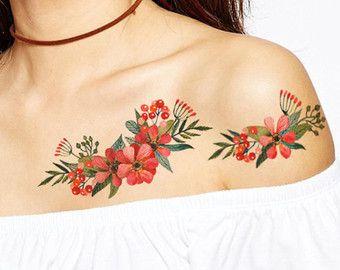Poppies Bouquet tattoo Pattern Tattoo Temporary by ArrowTattoo