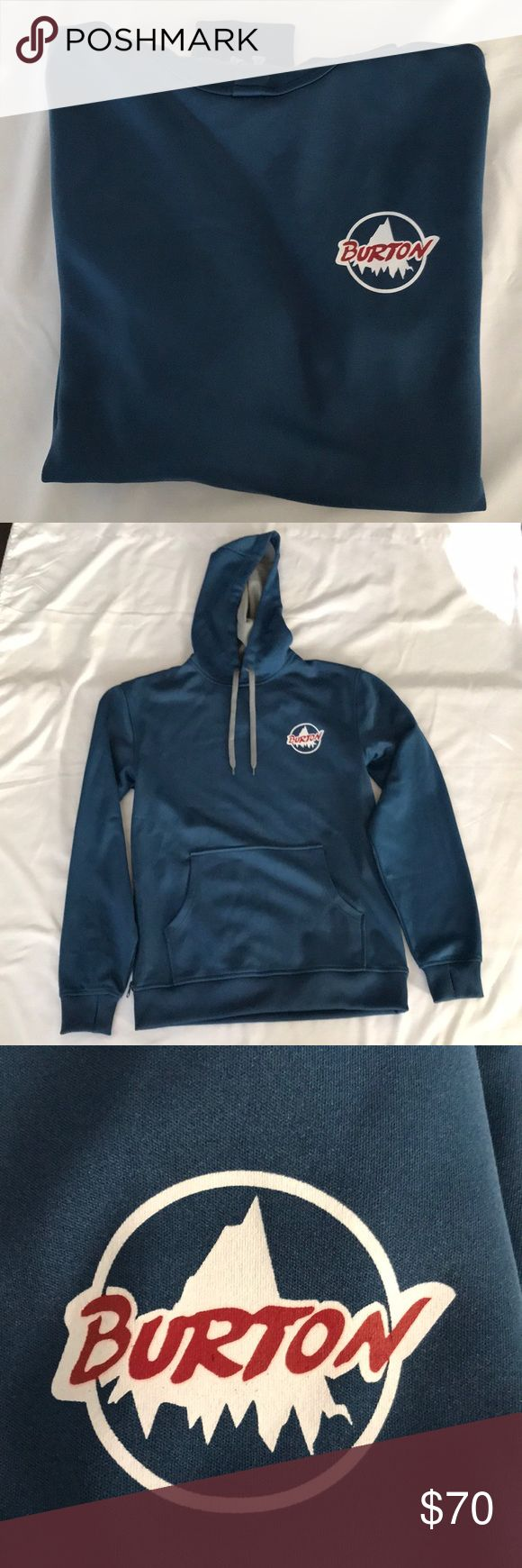 Burton Snowboarding Hoodie Sweatshirt Men Small Burton DryRide Snowboarding Hoodie Sweatshirt Men Small. Front pocket plus an extra zip pocket on right side. Holes for thumbs on sleeve. Only worn once. Excellent condition. This is an amazing Sweatshirt. Very nice exterior and fleece lining. Extremely warm and comfy!! Burton Shirts Sweatshirts & Hoodies