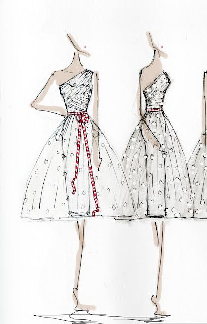 Alexandra King's watercolour and ink sketch for the Judy dress.