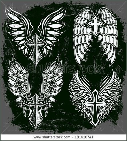 Vector Set of cross and wings - tattoo - elements - dark style - Grunge effects can be easily removed