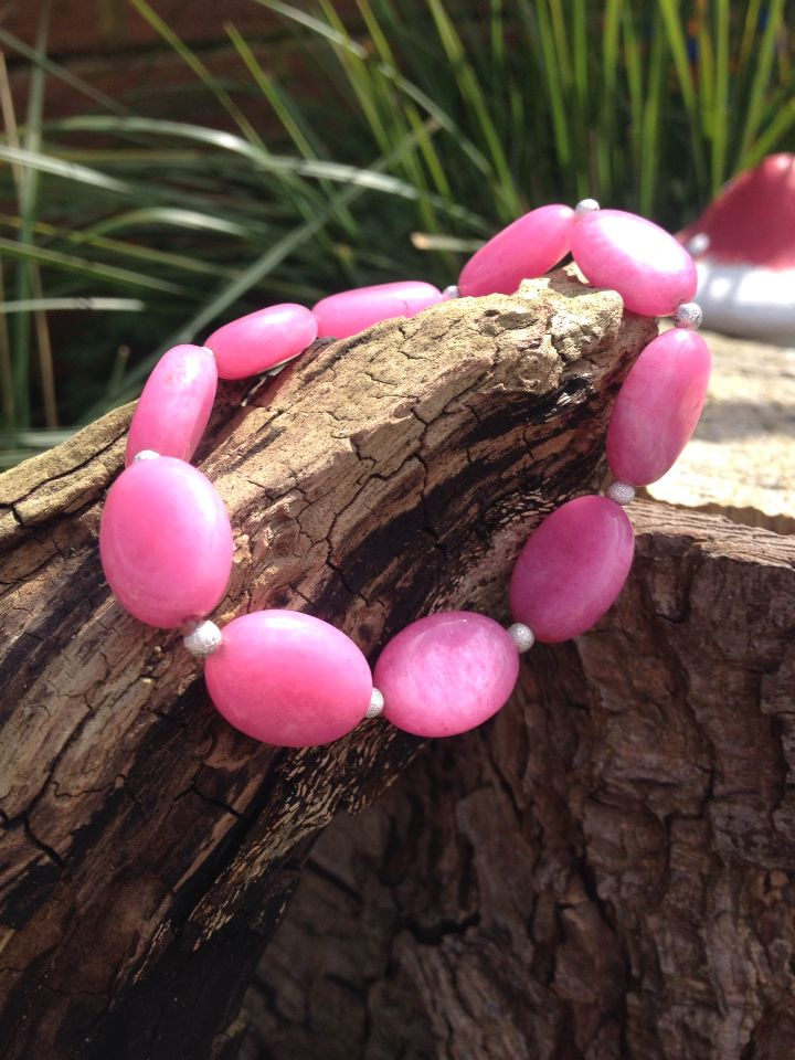 Stunning handmade pink agate and sterling silver beads. Beautiful bracelet contact me for details