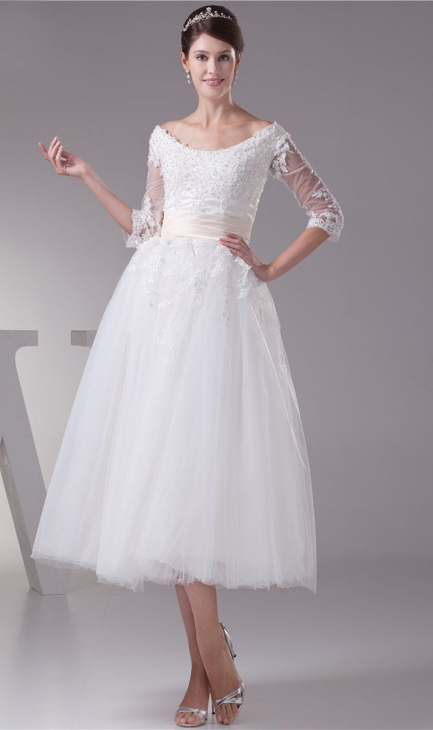 2fe4d4d2fafc Wedding Dresses Bridal Gowns Vintage Unique Princess Dress Tea Length Short  V-Neck Illusion A-Line Lace Half Sleeves Beading O-Neck W114214