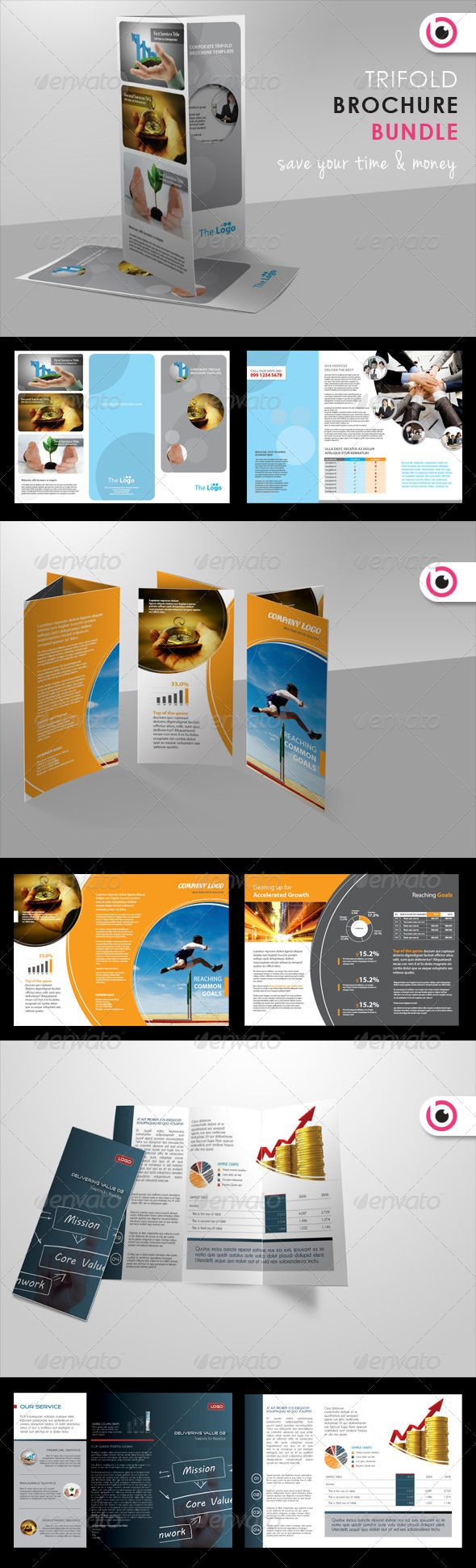 Trifold Brochure Bundle  #GraphicRiver         These brochure templates is designed for corporate business that needs clean, professional, modern brochure style. Sample texts and colors are easy to replace with just few clicks.  	 This bundle included 3 different tri-fold brochure:  	 Trifold Brochure  	 Corporate Tri-fold Brochure   	 Unique Tri-fold Brochure   	     Some of the brochure I have lovingly crafted…