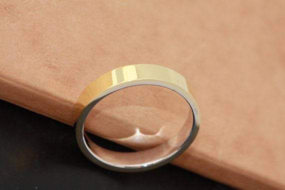 yellow gold and white gold wedding band /two tone by PetrosJewels