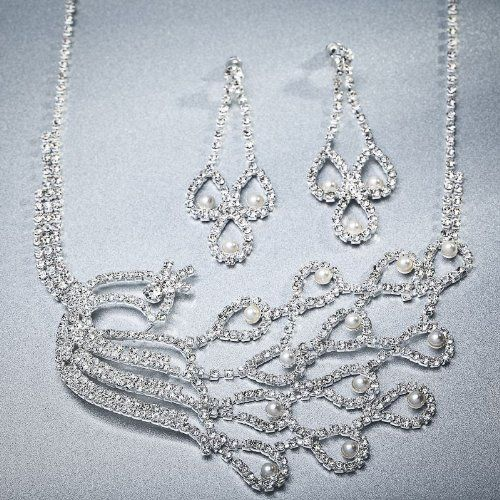 Arinna Peacoak Engagement Lady Necklace Earrings Set Wgp 18K Swarovski Elements Crystals Arinna. $29.98